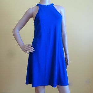 Express bright blue halter style A Line dress